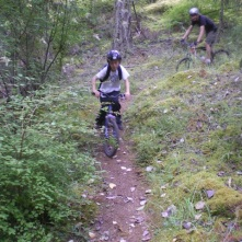 Kids riding the Hill during one of Kerby Phelp's Intro to Mountian Biking classes.
